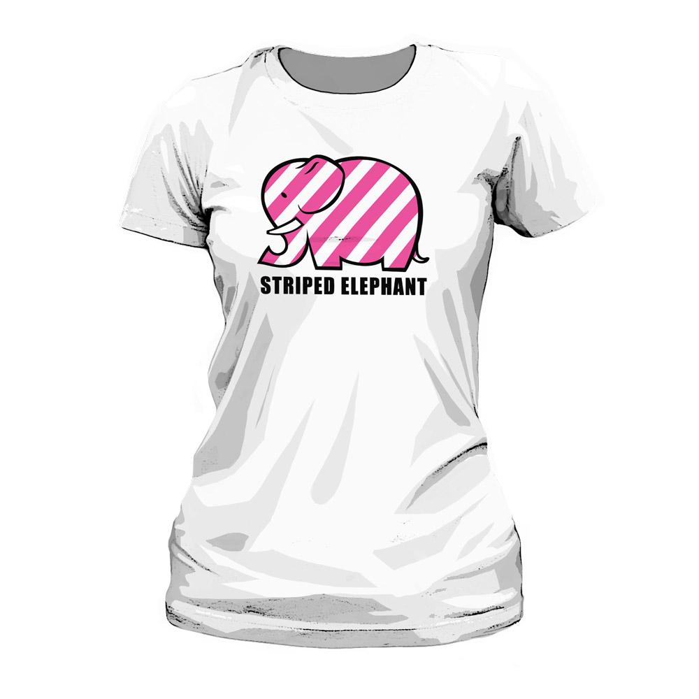 54a20f21274b10 Striped Elephant Ladies Tee – White